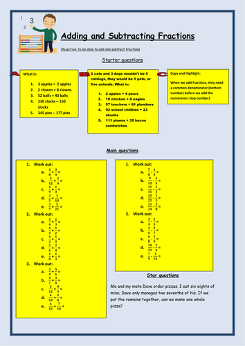Adding and Subtracting Fractions Worksheet by bcooper87 - Teaching ...