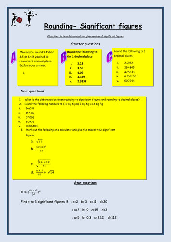Rounding to Significant Figures Worksheet by bcooper87 | Teaching ...