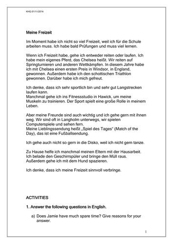 reading comprehension meine freizeit by rosered27 On vorpraktikum architektur