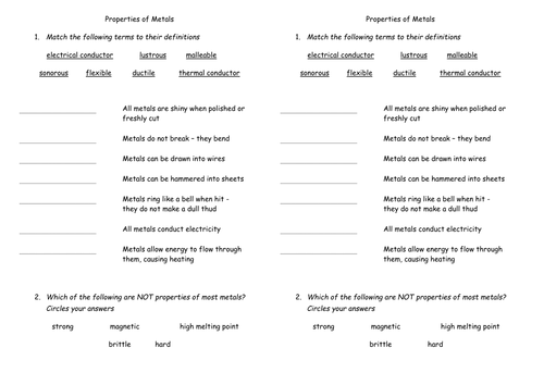 Properties of Metals by Astronyxis Teaching Resources TES – Atoms and Molecules Worksheet