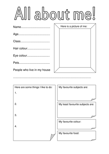 All about me fact file for first day of term by hannahw2 for About me template for students