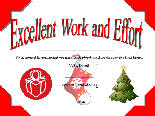 Christmas End of Term Certificates
