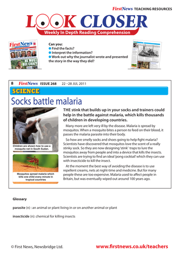 Look Closer at 'Socks battle malaria' news report