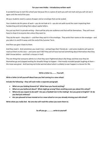 For the new intake write a letter to yourself by rmnewbury for the new intake write a letter to yourself by rmnewbury teaching resources tes expocarfo