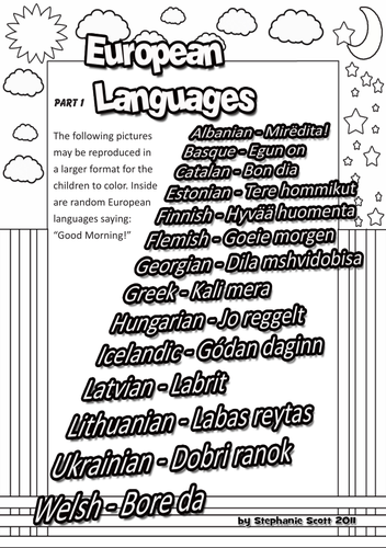 Euro Languages Colouring Pages 1-3