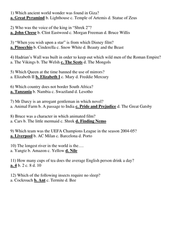 Tutor time general knowledge quiz