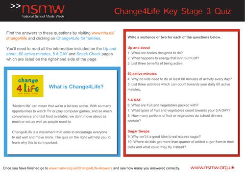 NSMW Healthy Eating Change4Life Quiz KS3
