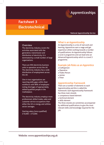 Electrotechnical Apprenticeship Factsheet