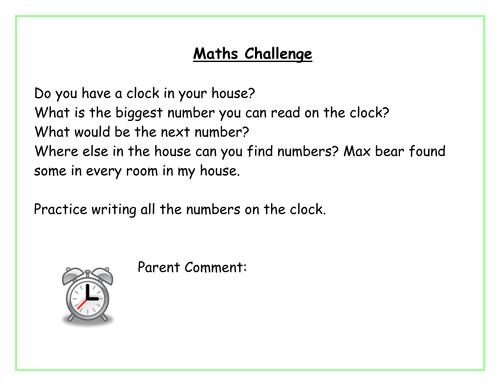 EYFS Maths homework ideas by susieb - Teaching Resources - Tes