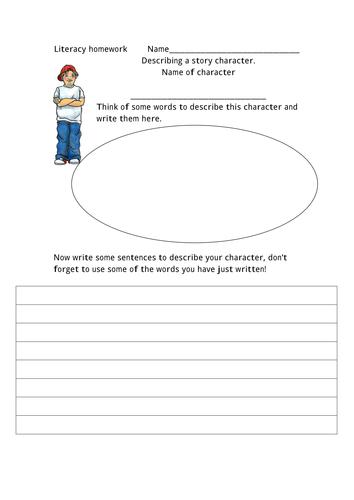 Homework sheets describing character and setting