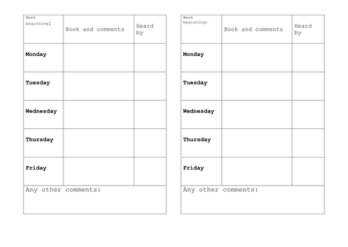 Reading Diary Template by Lulatroll - Teaching Resources - Tes