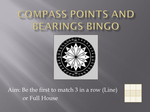 Compass Points and Bearings Bingo