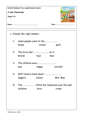 oxford reading tree comprehension sheets by zkfn teaching resources. Black Bedroom Furniture Sets. Home Design Ideas