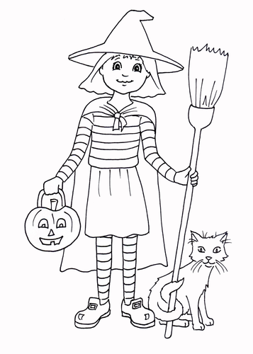 Halloween Little Witch Colouring