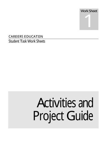 Careers Education: Student Task Worksheets