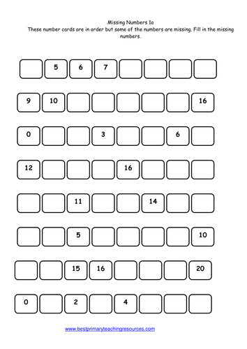 Year 1 maths worksheet Missing Numbers