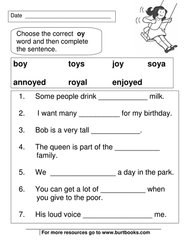phonics worksheets oy and oi sounds by coreenburt teaching resources. Black Bedroom Furniture Sets. Home Design Ideas