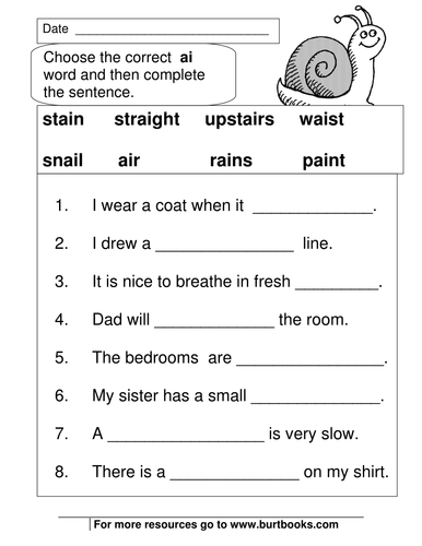 Phonics Worksheets  AI and AY sounds