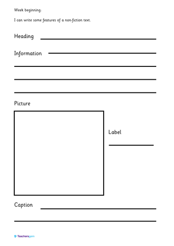 Writing template - features of a non-fiction text