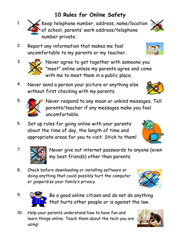 10 Rules For E Safety And Smart Thinking By Jan Webb