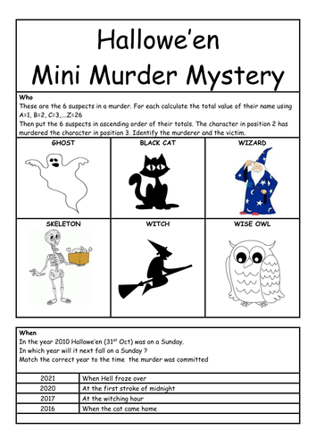 mini murder mystery for halloween by whieldon teaching resources tes - Bogglesworld Halloween