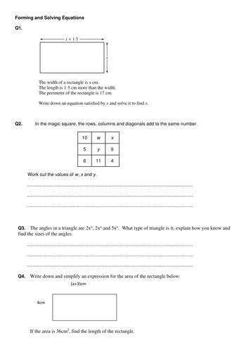 Forming and Solving Equations from Words by mrbuckton4maths ...
