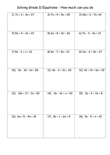 Algebra Differentiated Worksheet On Solving Equations By