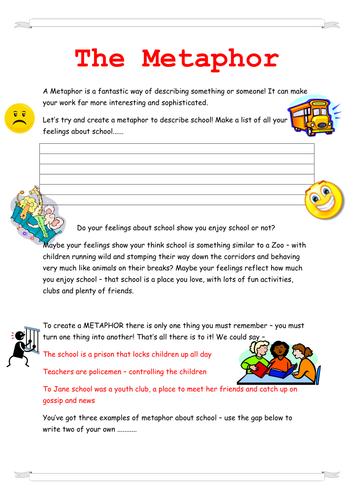 Metaphor Worksheet By Lowrip1ckle Teaching Resources Tes