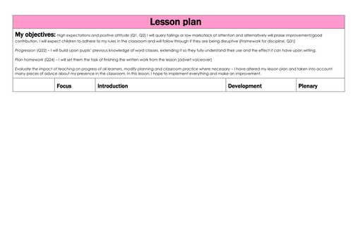 A differentiated&interesting plan for word classes