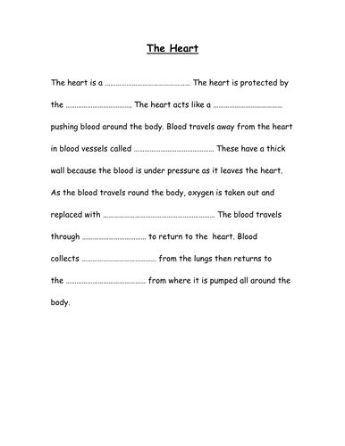 Heart Differentiated Cloze Activity By Fairykitty Teaching