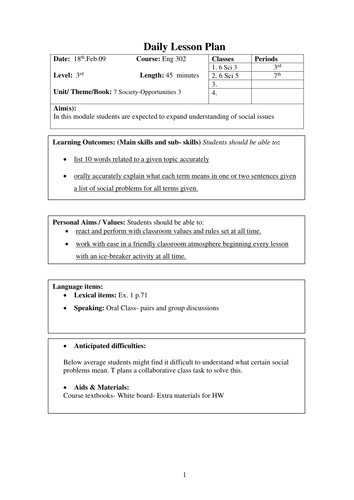 Blank Lesson Plan Template For Outstanding Lessons By Alexjfirth - Daily lesson plan template doc