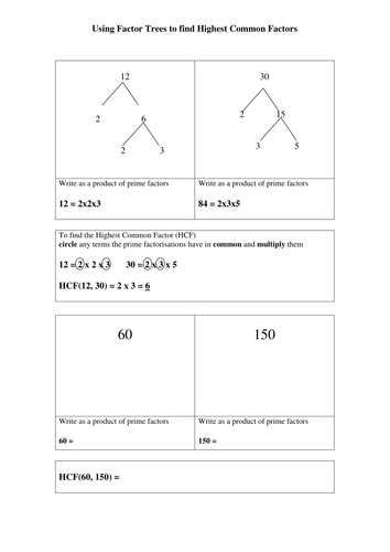 Using Factor Trees To Find Highest Common Factors Teaching Resources