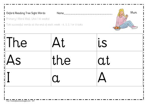 Oxford Reading Tree - sight word mats