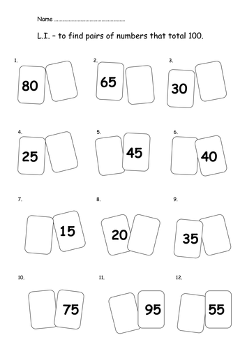 Pairs that total 100 - 2 ability level sheets by Nickybo - Teaching ...