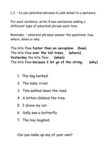Adverbial Phrases By Nickybo Teaching Resources Tes