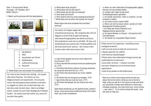 KS4 Environment Worksheet- controlled assignment