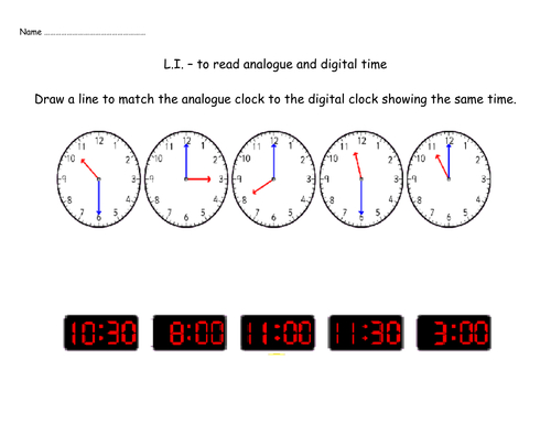 Matching analogue and digital clocks by Nickybo Teaching – Analog Clock Worksheet
