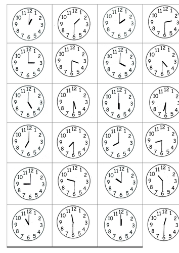 Time Worksheets time worksheets one hour later : Time to the half hour by s0402433 - Teaching Resources - TES