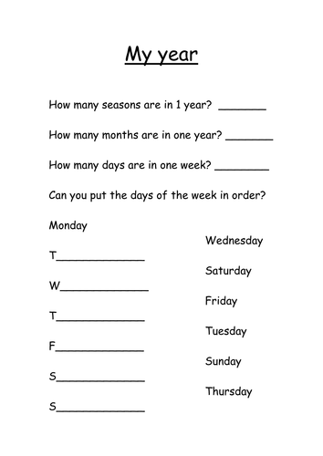 Number Names Worksheets worksheet for months of the year : seasons months and days by s0402433 - Teaching Resources - TES