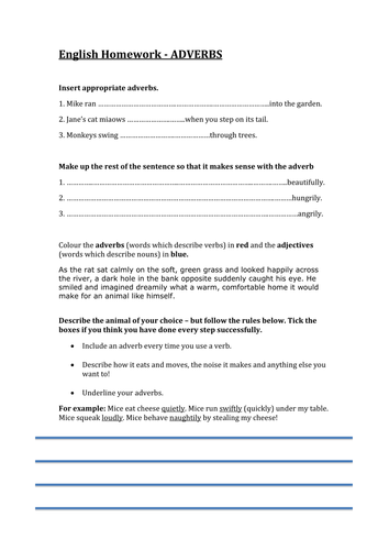Adverbs worksheet (nice homework) by lathburg - Teaching Resources - Tes