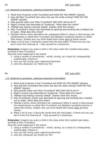 Matilda Comprehension By Lathburg Teaching Resources Tes