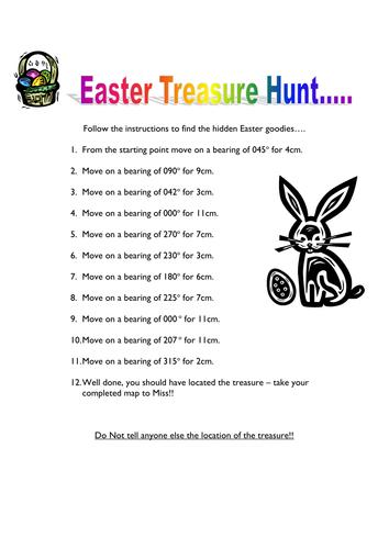 Worksheets Treasure Hunt Math Worksheet bearings easter treasure hunt by helbel11 teaching resources tes