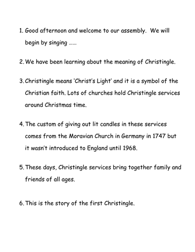The Meaning of the Christingle assembly
