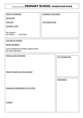 early years lesson plan template - blank eyfs lesson plan by gwright78a teaching resources
