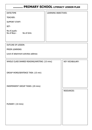 blank literacy lesson plan by gwright78a teaching resources