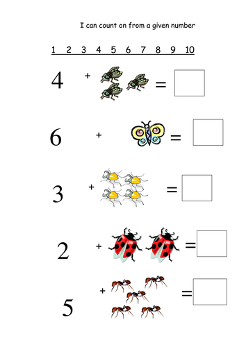 counting on from a given number minibeasts by joycs teaching resources. Black Bedroom Furniture Sets. Home Design Ideas