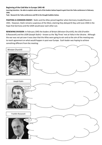 Origins Of The Cold War By Alana852 Teaching Resources Tes