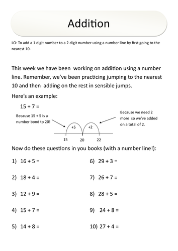 Year 3 Numeracy Homework - Addition (number line)