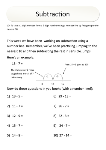 Yr 3 Numeracy Homework - Subtraction (number line) by rfernley ...