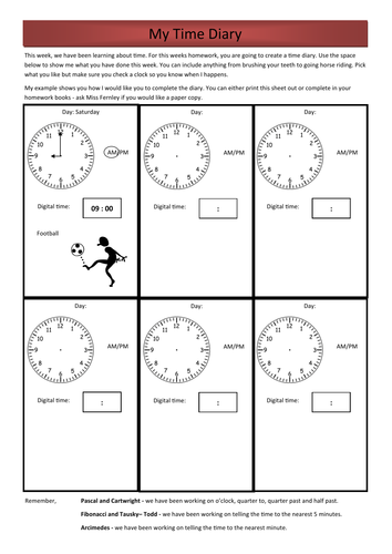 year 3 numeracy homework time diary by rfernley teaching resources tes. Black Bedroom Furniture Sets. Home Design Ideas